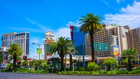 Las Vegas USA - Maj 04, 2016: Ovannämnd jordsikt av remsahotellsemesterorter och kasino Royaltyfria Foton