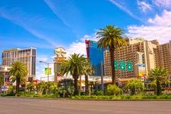Las Vegas USA - Maj 04, 2016: Ovannämnd jordsikt av remsahotellsemesterorter och kasino Arkivbild