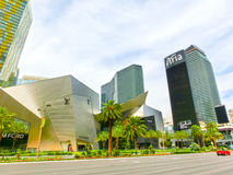 Las Vegas USA - Maj 05, 2016: Ovannämnd jordsikt av remsahotellsemesterorter och kasino Arkivbilder