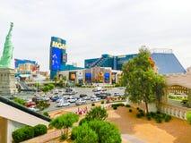 Las Vegas USA - Maj 05, 2016: Ovannämnd jordsikt av remsahotellsemesterorter och kasino Arkivfoto