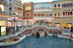 The Grand Canal gondola ride in Venetian hotel. LAS VEGAS, USA - MARCH 19, 2018 : The Venetian hotel and casino interior. The Grand Canal gondola ride Stock Photography
