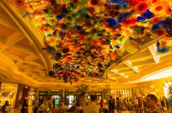 Las Vegas, USA - May 05, 2016: The Hand Blown Glass Flower Ceiling at the Bellagio Hotel stock image