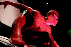 Close up Spiderman. LAS VEGAS, USA - Oct 10, 2017: Close up Spiderman, Madame Tussauds museum in Las Vegas royalty free stock photos