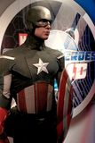 A waxwork of Captain America. LAS VEGAS,USA - OCT 09 : A waxwork of Captain America on display at Madame Tussaud`s on October 09 2017 in Las Vegas USA Stock Photography