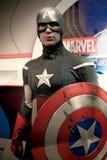 A waxwork of Captain America. LAS VEGAS,USA - OCT 09 : A waxwork of Captain America on display at Madame Tussaud`s on October 09 2017 in Las Vegas USA Stock Photos