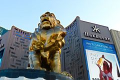 Lion statue at Las Vegas MGM Grand Casino Hotel on the Las Vegas Strip Stock Images