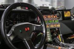 Las Vegas USA, September 2016 DMC DeLorean tillbaka till den framtida filmbilen på auto exebition royaltyfri foto