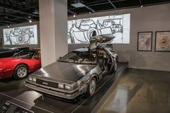 Las Vegas USA, September 2016 DMC DeLorean tillbaka till den framtida filmbilen på auto exebition arkivbild