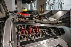 Las Vegas USA, September 2016 DMC DeLorean tillbaka till den framtida filmen specificerar bilen på auto exebition arkivbilder