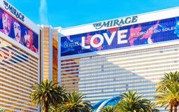 LAS VEGAS, usa - STYCZEŃ 31, 2018: Widok fasada hotelowy budynku miraż obrazy stock