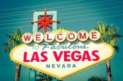 Las Vegas välkommet tecken Arkivbild