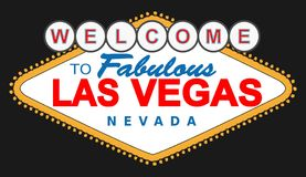 Las Vegas vector sign. High detailed vector illustration of the famous sign of Las Vegas Nevada on black background. High quality full editable illustration stock illustration