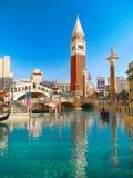 Las Vegas, Venetian Hotel Casino, Rialto Bridge, Gondolas. The Venetian - Resort Hotel and Casino. Replica Venice setting. Canal water feature with gondolas royalty free stock photography