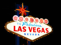 Las Vegas Welcome. Classic Welcome to Fabulous Las Vegas, Nevada sign - night Royalty Free Stock Photo