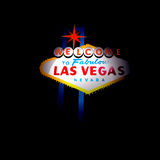 Las Vegas Welcome Sign. An illustration showing the words Welcome to Fabulous Las Vegas Nevada with a red star above all on a dark light effect background Royalty Free Stock Photography