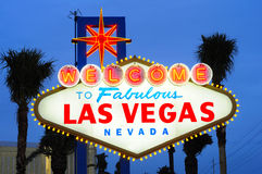 Las Vegas welcome sign. Las Vegas city welcome sign at dusk Royalty Free Stock Photography