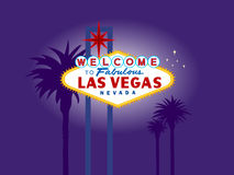 Las Vegas Welcome Sign at Night with Palm Trees Royalty Free Stock Photo