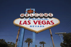 Las Vegas welcome sign with palm trees Royalty Free Stock Photography