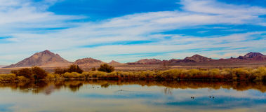 Las Vegas Wetlands & Mountains. Las Vegas, Nevada, USA - Feb. 14, 2016: View to the East from Las Vegas is Sunrise and Frenchman Mountains as seen from the royalty free stock images