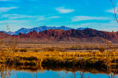 Las Vegas Wetlands & Mountains. Las Vegas, Nevada, USA - Feb. 14, 2016: View to the East from Las Vegas is Sunrise and Frenchman Mountains as seen from the stock photography