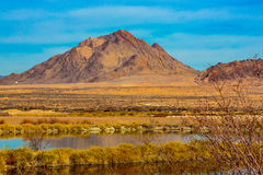 Las Vegas Wetlands. Las Vegas, Nevada, USA - Feb. 14, 2016: View to the East from Las Vegas is Sunrise and Frenchman Mountains as seen from the Henderson Bird stock image