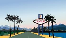 Las- Vegasstadt-Skyline Reise USA-Hintergrund Landschaft mit La lizenzfreie abbildung