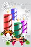 Las velas coloridas de la Navidad en fondo del copo de nieve - vector eps10 stock de ilustración