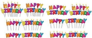 Las velas coloridas del texto del feliz cumpleaños en los palillos fijaron 1 Imágenes de archivo libres de regalías