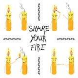 Las velas con la inscripción comparten su fuego Vector Foto de archivo libre de regalías
