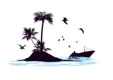 Las velas del barco más allá de la isla Foto de archivo libre de regalías