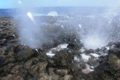 Las ventanas de la nariz de los dragones arrogan el agua de mar fotografía de archivo