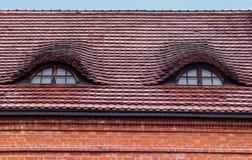 Las ventanas del tejado son como ojos Imagenes de archivo