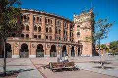 Las Ventas斗牛场室外看法在马德里 免版税图库摄影