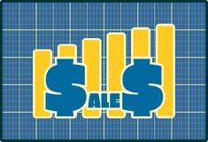 Las ventas crecen la etiqueta engomada Foto de archivo libre de regalías