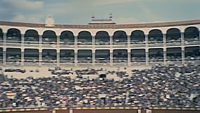 Las Ventas Madrid. Madrid, Spain - Circa 1978: panorama of the old arena Las Ventas. The most famous and biggest bullring in the world. Restored historical 70s stock video footage