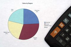 Las ventas representan gráficamente y calculadora Foto de archivo libre de regalías