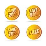 Las ventas salvan etiquetas como vector de los iconos Imagenes de archivo