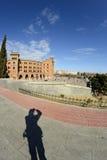 Las Ventas square through a fisheye lens and photographer shadow Royalty Free Stock Image