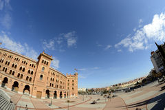 Las Ventas square from a side through a fisheye lens, Madrid Royalty Free Stock Photos