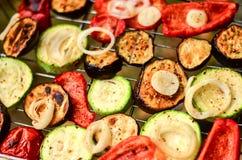 Las verduras calientes, jugosas en la parrilla asaron a la parrilla la berenjena, calabacín, pimientas Fotos de archivo libres de regalías