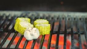 Las verduras crudas asadas a la parrilla, el pollo cortado en pedazos de champignants ajo y la pimienta de chile se vuelcan con l almacen de metraje de vídeo