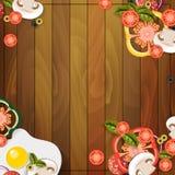 Las verduras de madera del almuerzo del fondo desayunan fotografía de archivo libre de regalías