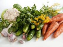 Las verduras del verano cosechan en la tabla Foto de archivo libre de regalías