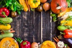 Las verduras frescas en una oscuridad rústica texturizaron la tabla Backgro del otoño Fotos de archivo libres de regalías