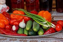 Las verduras frescas en una placa grande se colocan en una tabla cubierta con un mantel Foto de archivo