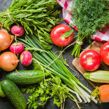 Las verduras frescas y los verdes en manojos arreglaron en un marco en un fondo de piedra negro Imagenes de archivo