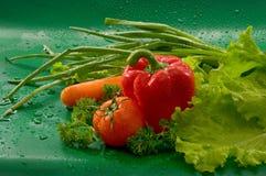 Las verduras - lavó las zanahorias, tomates, paprikas rojos, paprika, lechuga, perejil, cebollas verdes fotografía de archivo