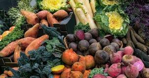 Las verduras otoñales orgánicas arraigan en un mercado de la comida Foto de archivo