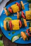 las verduras y la parrilla asadas a la parilla jardín colorido van de fiesta la comida en la tabla imágenes de archivo libres de regalías