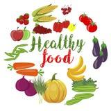 Las verduras y las frutas orgánicas frescas con la comida healty mandan un SMS Imagen de archivo libre de regalías